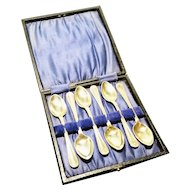 Antique silver plated teaspoons, cased
