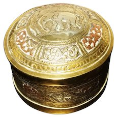 Vintage brass and copper trinket pot or jewelry box, Tanjore South Indian