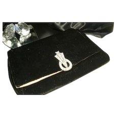 Art Deco black velvet and satin clutch purse with diamanté clip