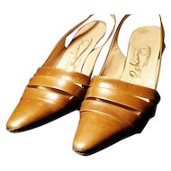 Vintage 50's sling back heels, Italian leather, classic pin up