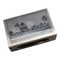 Vintage 20s silver matchbox cover, niello