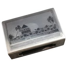 Vintage silver and niello matchbox cover, Islamic sea and land design