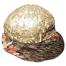 Vintage 20's sequined and lame skull cap with peak
