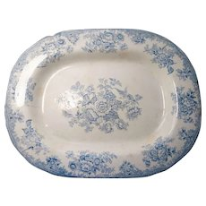 18th Century large Blue and White meat platter / plate