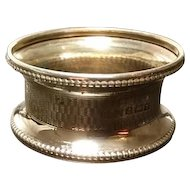 Antique English sterling silver napkin ring, fully hallmarked