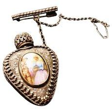 French antique scent bottle brooch, miniature scent bottle