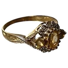 Absolutely stunning Art Deco vintage 9ct gold diamond and citrine cluster ring, 9 karat gold