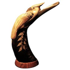 Carved buffalo horn bird statue, huge Asian water buffalo horn