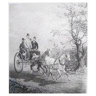 The Tandem, Hester after Alken, antique engraving, 1878