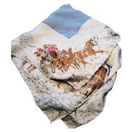 Edwardian silk handkerchief, horse drawn cart, winter scene