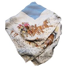 Edwardian silk handkerchief, horse drawn cart, winter scene