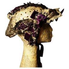 Victorian lace and velvet bonnet, ribbon tie
