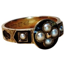 Victorian 15kt mourning ring, enamel, pearl and hairwork, forget me not flower, Mother