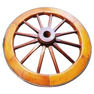 Decorative Victorian cartwheel, brass rim, rustic decor