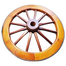 Decorative Victorian cartwheel, brass rim, rustic decor