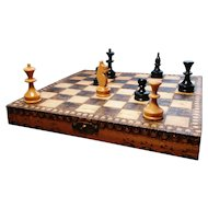 Antique pokerwork travel chess set, miniature chess