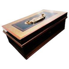 Victorian cash box, antique money safe tin