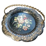Victorian card tray, papier mache, mother of pearl, gilt brass handle