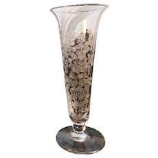 Victorian etched glass bud vase, hand blown antique glass