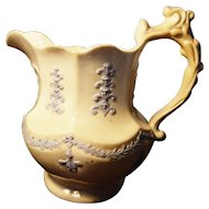 French antique porcelain jug, relief moulded, country kitchen