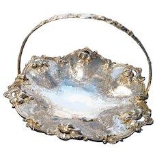 Victorian silver plated cake basket / fruit basket, brides basket