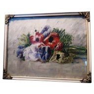 Antique still life, oil on board of Anemones, period frame