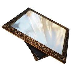 Victorian mirror, heavy rustic brass framed mirror