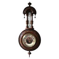 Antique walnut barometer, Victorian era, with thermometer