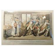 Georgian satirical print, Uninvited Guests Civilly Dismissed, 1819, Isaac Robert Cruikshank