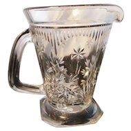 Victorian cut glass lemonade jug, heavy moulded cut glass
