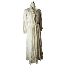 Antique style silk ruffle dress, button back, vintage wedding