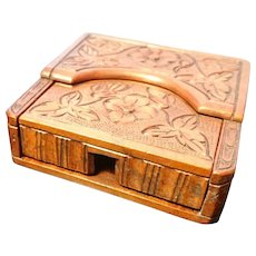 Antique watch stand, carved wood, folk art, folding