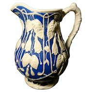 Victorian Parian ware, clayware jug, blue and white