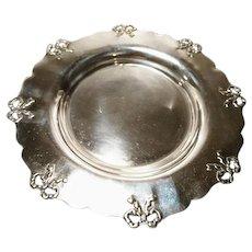 Victorian silver plated side / sweet plate, bow Design, Deakin