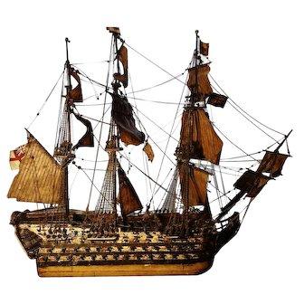 Antique model of an 18th century British naval war galleon