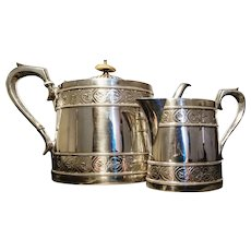 Antique silver plated teapot and creamer, tea set, James Dixon and Sons