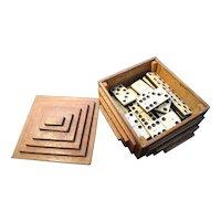 Antique bone and ebony dominoes, boxed