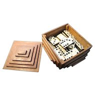 Antique bone and ebony dominoes, boxed