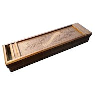 Victorian pencil box, antique carved treen