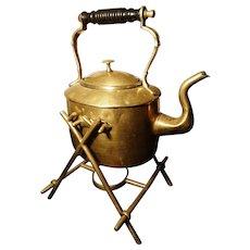 Victorian brass spirit kettle, William Soutter, gypsy kettle