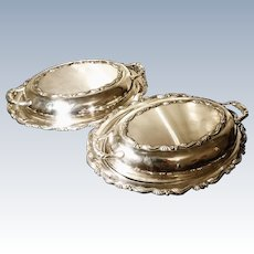 Vintage silver plated entrée dishes, pair, Oneida