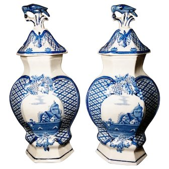Antique Delft mantle vases with covers, 18th century