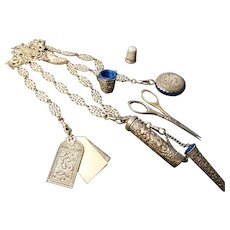 Victorian chatelaine, antique 5 chain sewing chatelaine