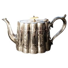 Victorian silver plated teapot, aesthetic era