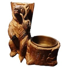 Antique black forest bear figural match safe and ashtray, Swiss