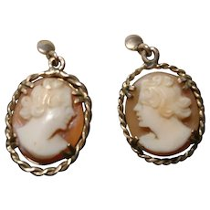 Antique cameo earrings, Victorian 9kt gold screwback