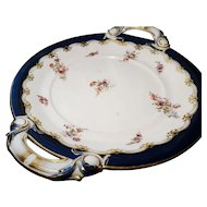 Grand Victorian cake plate, 2 handled, ground gilt