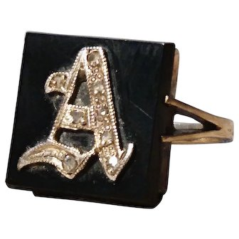 Antique diamond initial ring, 9kt gold, black onyx, Letter A