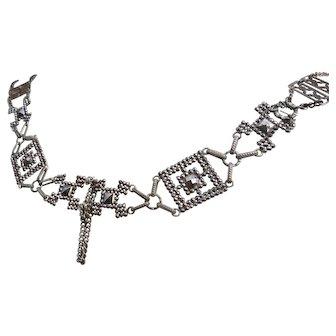 Georgian cut steel necklace, long length, antique