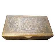 Antique Islamic box, brass niello cigar box